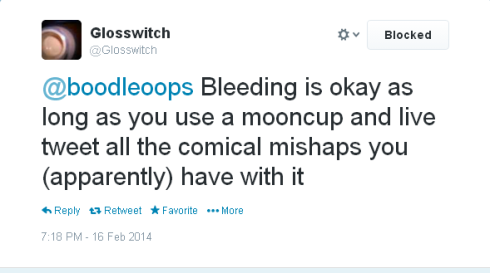 Twitter   Glosswitch  @boodleoops Bleeding is okay ...