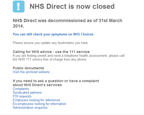 NHS Direct - Closure